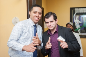 Admissions volunteer Rene Howard-Paez (left), with Director of Admissions Marcos Enrique (right)